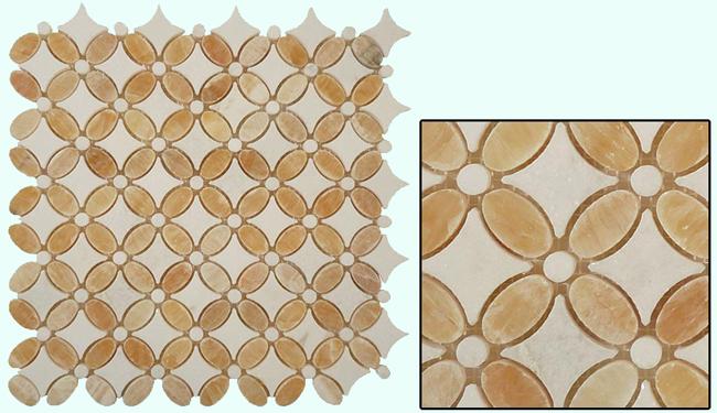 Glass Tile   Flower Series   Honey Onyx U0026 Thassos White