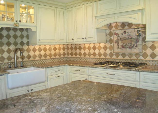 Porcelain Tile With Mosaic Glass Tile Backsplash KB003